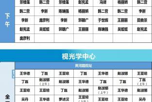 濮阳市眼科医院8月31日—9月6日门诊出诊医师排班表