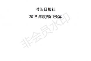 2019濮阳日报社预算公开文件